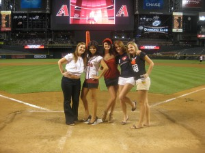 Kelly, Me, Emily, Erin, and Shannon on the field in AZ after the Braves opening night loss to the D-Backs